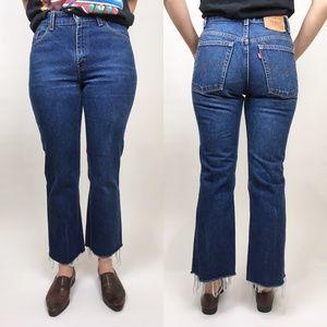 VTG LEVIS 517 29x27 Raw Hem Jeans Dark Wash Denim
